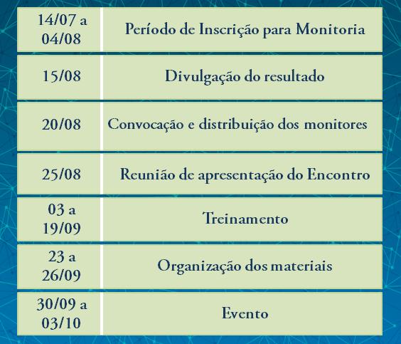 calendário da monitoria